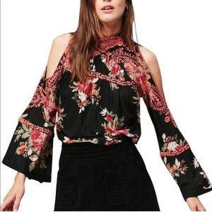 Free People Bainbridge Black Floral Blouse Sz. L